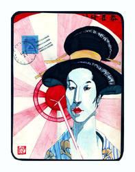 geisha 1st class postcard by coffeedude02