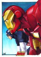 Avengers: Iron man-Cap by gattadonna