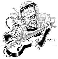 Electric Frankenstein Final Inks by Huwman