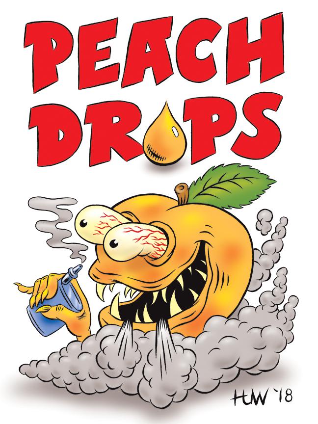 PEACH DROPS Vape Juice Mascot by Huwman