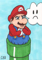 Sketchcard - Mario in the Pipe by StineTheKitty
