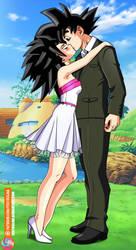 Commission - Caulifla kiss Goku by FoxyBulma