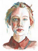 Watercolor portrait by Myshoolka
