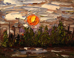 January Evening - Quick Oil Sketch by DeLumine