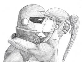 Captain Falcon x Samus by RearRabbit