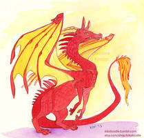 Red Watercolor Dragon by kiki-doodle