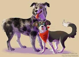 Pet portrait dogs by kiki-doodle