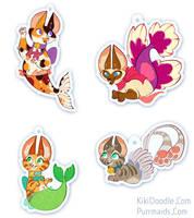 Purrmaids Acrylic Charms: Final Designs by kiki-doodle