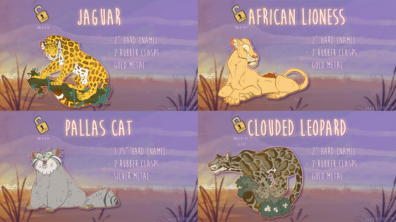 Big and Wild Cats Pin Kickstarter Update 1 by kiki-doodle