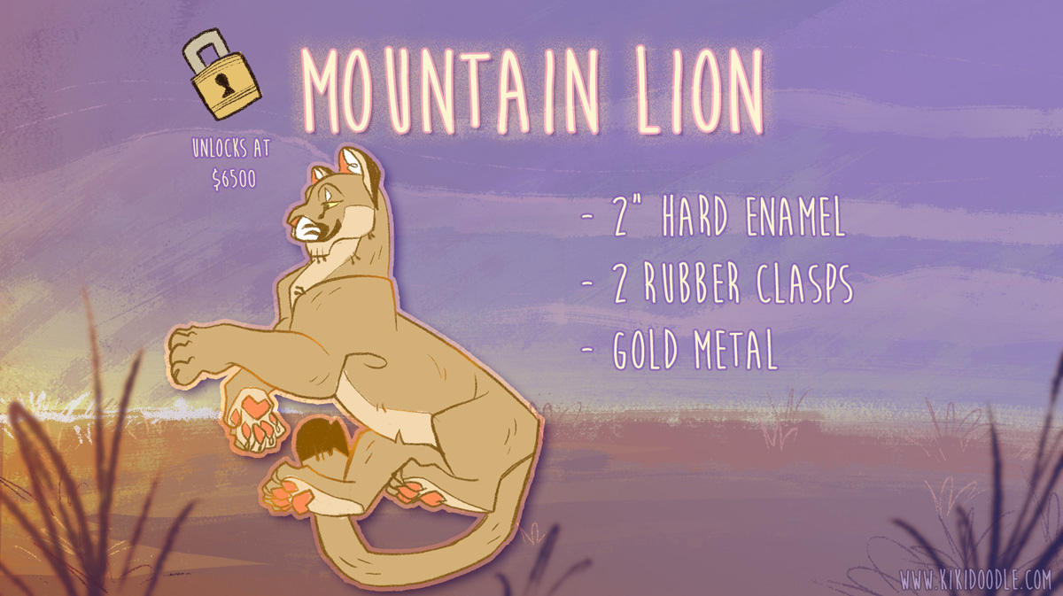 Mountain Lion enamel pin by kiki-doodle