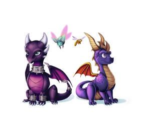 Fanart - Reignited Cynder and Spyro by GroxikavonDarkside