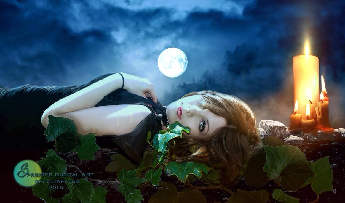 Moonbathing and candlelight by SPRSPRsDigitalArt
