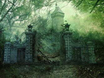 Free Premade Bacground: forgotten castle by SPRSPRsDigitalArt