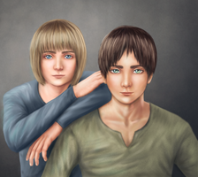 Armin and Eren by KarenOArt