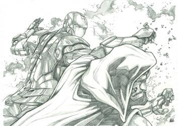 Iron vs Dr Doom Pencil by Keatopia