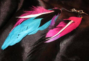 Cotton Candy Faux Feather Earrings by undeadxsiren