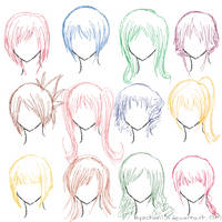 Hair Ref - 12 Hairstyles by MyaChan13