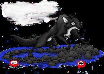Wolf Over Water 'no BG' by kashimitsu