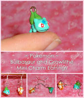 Pokemon - Mini Bulbasaur and Growlithe Charms by YellerCrakka