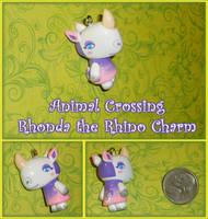 Animal Crossing - Rhonda Rhino Charm - Handmade by YellerCrakka