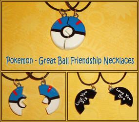 Pokemon - Great Ball Pokeball Friendship Necklaces by YellerCrakka