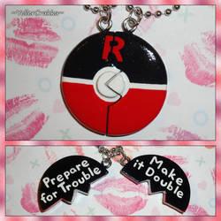 Pokemon - Team Rocket Pokeball Friendship Necklace by YellerCrakka