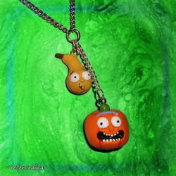 Rick and Morty - Pumpkin Rick n Gourd Morty Charms by YellerCrakka