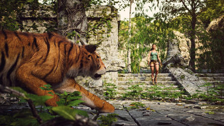 [DAZ3D] - Tomb Raider - Tiger attack (Fanart) by PSK-Photo