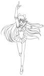 Sailor Venus - Crescent Beam Shower (Lineart) by Trinityinyang