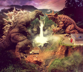 Godzilla VS Baragon Photoshopped by Legrandzilla