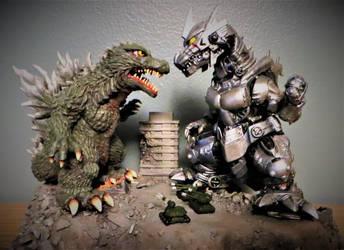West Kenji Godzilla vs Kiryu SD Diorama by Legrandzilla