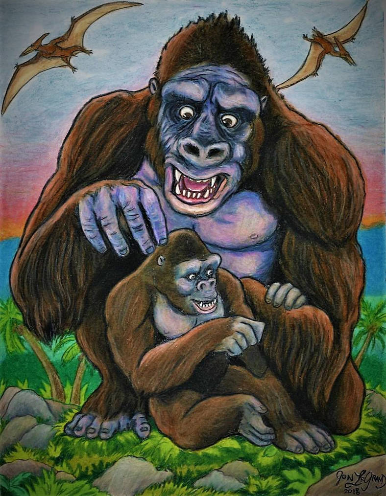 Kong and Mighty Joe Grooming  by Legrandzilla
