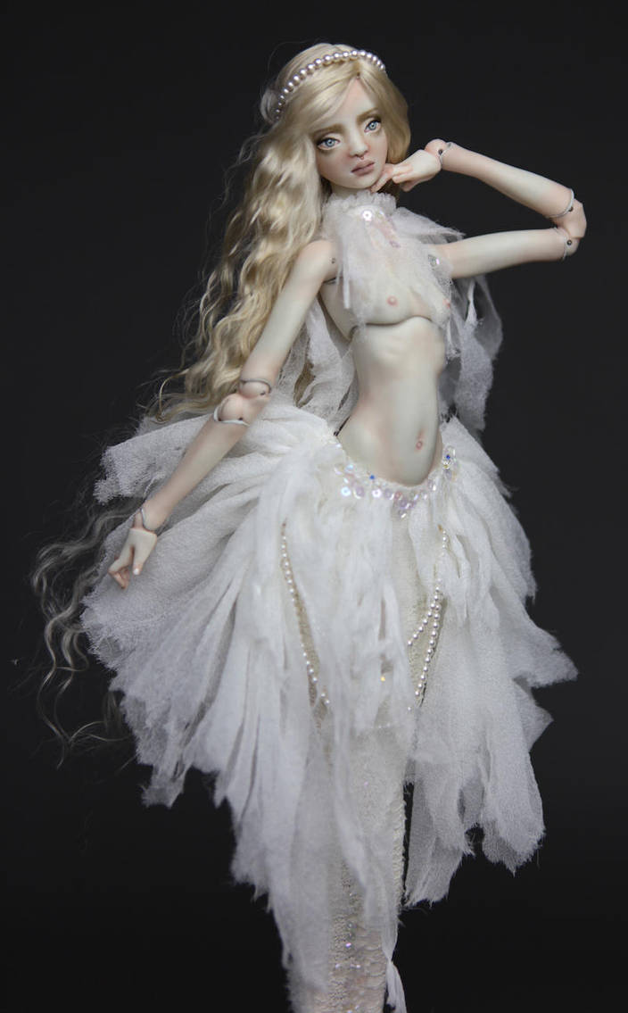 Porcelain BJD White Betta Mermaid by FHDolls by FHdolls