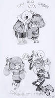 Sans and Papyrus feat. Frisk by kirawong