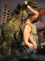 Giganta fights Godzilla, Frame 1, View 4 by DahriAlGhul