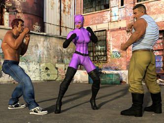 Catwoman fights two thugs 1 by DahriAlGhul