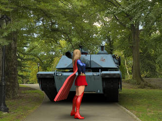 Supergirl faces a tank, Photoshop-combined by DahriAlGhul