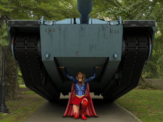 Supergirl lifts a tank 1 by DahriAlGhul