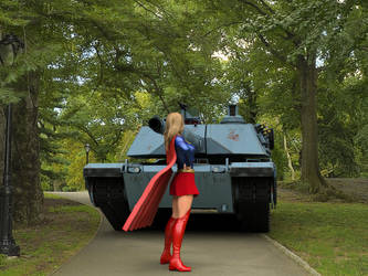 Supergirl faces a tank by DahriAlGhul