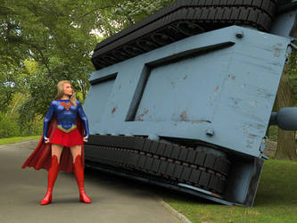 Supergirl beats a tank, Photoshop-combined by DahriAlGhul