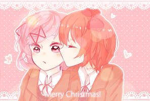 Natsuki x Sayori Merry Christmas! by airinstar100