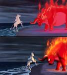 The Last Unicorn Screencap Redraw Comparison by MykeGreywolf