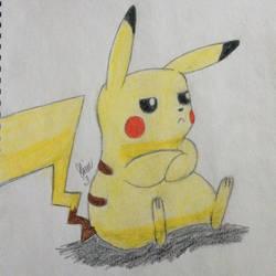 Not too happy Pikachu  by LOZRocksmysocks77