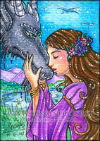The Maiden and the Dragon ACEO by Monica-NG