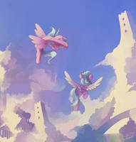 Flitter and Cloudchaser by freeedon