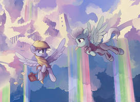 Derpy and Fleetfoot by freeedon