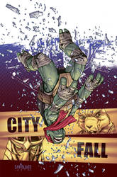 TMNT#22: City Fall_cover by Santolouco