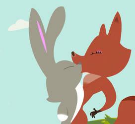 Skunk Fu - Rabbit x Fox kiss by Skunkfufan21