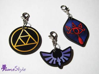 Triforce, Hylia, Sheikah Zipper-Pull Charms by Sarinilli