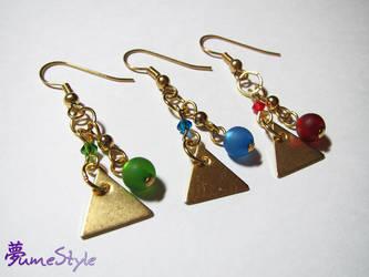 Goddess Triforce Earrings by Sarinilli